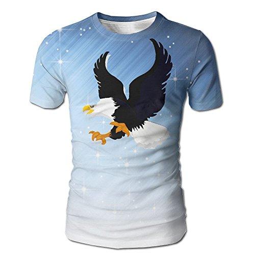 WUXJ0KKIL Men's Bald Eagle Black and White Vintage T Shirts White Size - Bryant Miami Park