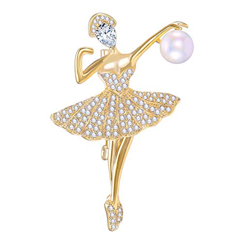 FAMARINE CZ Ballerina Brooch, Ballet Dancer Girl Brooch Pin with Cultured Pearl Christmas Birthday Gifts (Gold)