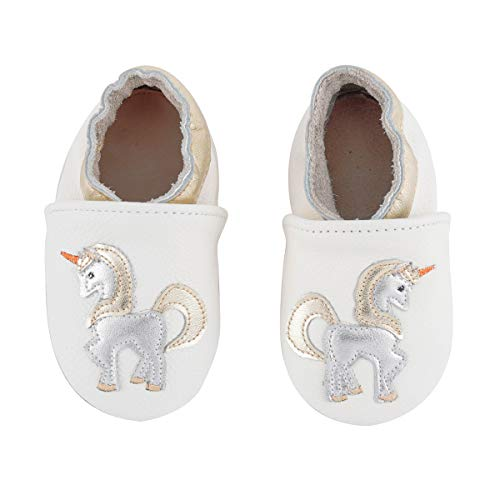 Unicorn Baby Moccasins Girl and Boy Soft Leather Toddler First Walker Shoes 0-6-12-18-24 Months (7 M Toddler(5.9inch/ 18-24Mo.), White Unicorn) (Boys Soft Leather)