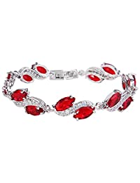 EleQueen Women's Silver-tone Full Cubic Zirconia Marquise Leaf Roman Tennis Bracelet