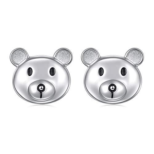 925 Sterling Silver Hypoallergenic Cute Animal Bear Stud Earrings for Women Girls - Earrings Bear