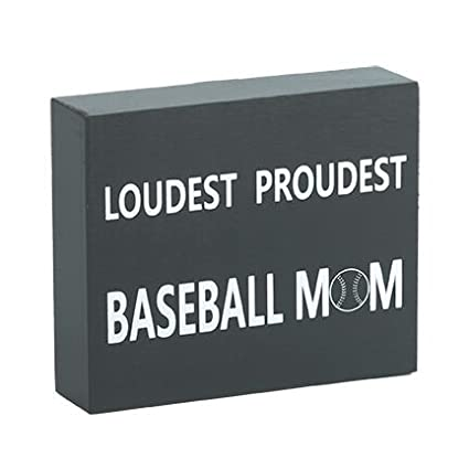 JennyGems Wood Box Sign Loudest Proudest Baseball Mom - Baseball Decor and  Accessories - Photo Prop 2bfc60c174c5