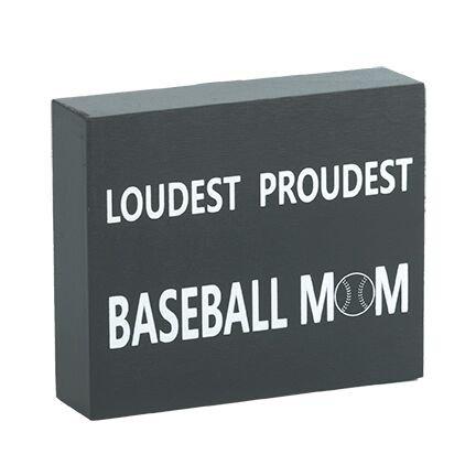 JennyGems Wood Box Sign Loudest Proudest Baseball Mom - Base
