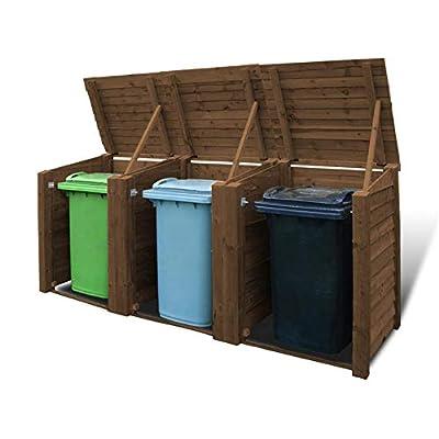 Rutland Wooden Triple Wheelie Bin Storage