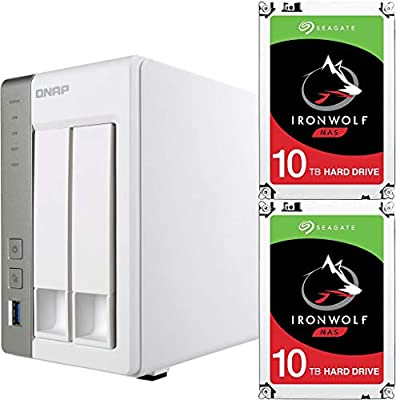 Qnap TS-231P-US Personal Cloud NAS Bundle Assembled and Tested with 20TB (2 x 10TB) of Seagate Ironwolf NAS Drives by CustomTechSales