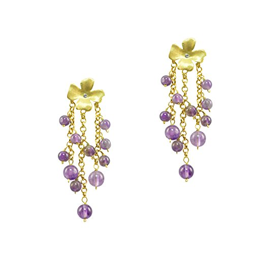 Just Give Me Jewels Gold Plated Vermeil Flower with Amethyst Stone Beaded Chain Dangle Post Earrings