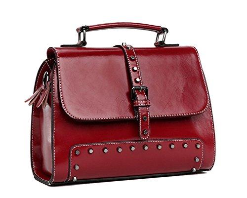 Xinmaoyuan Mujer bolsos de cuero Bolsos de cuero Bolsos de señoras señoras Big Bag Bolso de Hombro Rojo