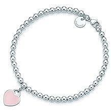 Pink Heart Tag Bead Bracelet in Sterling Silver