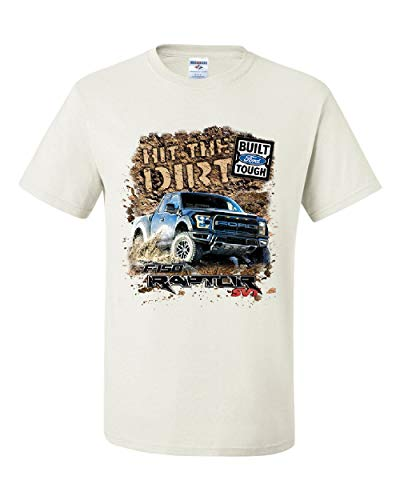 (Hit The Dirt Built Ford Tough T-Shirt F-150 Raptor Pickup Truck Tee Shirt White S)