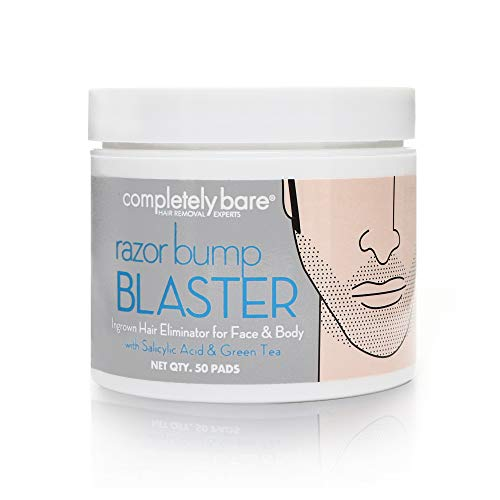 Completely Bare razor bump BLASTER Ingrown Hair & Razor Bump Eliminator for Men - Helps Exfoliate & Smoothen Irritated Skin Caused by Shaving, Waxing & Depilatory Creams, 50 ea