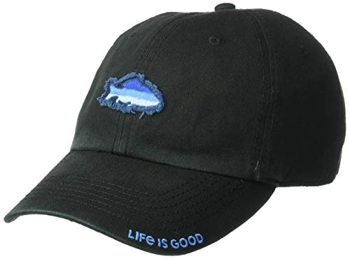 Life is Good Unisex Sunwashed Chill Cap Fish Stitch, Night Black, One Size -