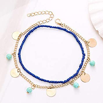 Barhalk Boho Style Dual-Layered Anklet Beaded Foot Chain Simple Pieces Dangle Ankle Chain Accessories for Beach Vacation Birthday Gifts Party Mothers Day Anniversary Celebration