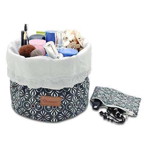 Waterproof Travel Bag Makeup bag Cosmetic Bag Travel Kit Organizer, lightweight Beautistyle Travel Bucket Cosmetic Bag case, Multifunctional cylinder toiletry bag(moss green)