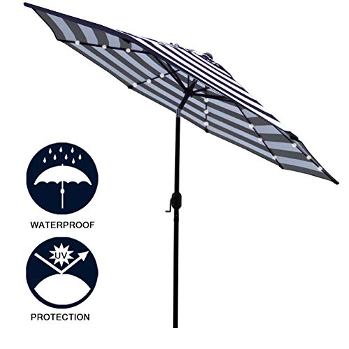 Sunnyglade 9′ Solar 24 LED Lighted Patio Umbrella with 8 Ribs/Tilt Adjustment and Crank Lift System (Black and White)