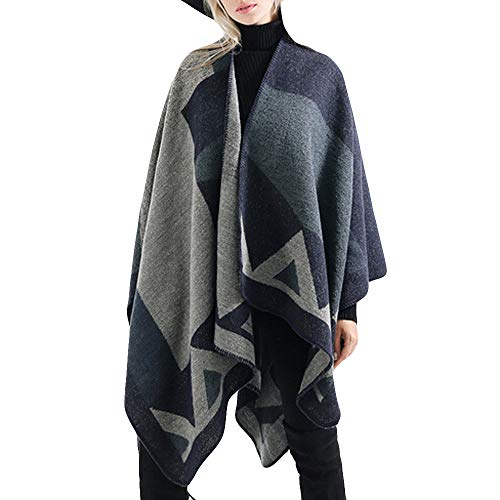 Shawl for Women,Winter Scarf Oversize Tartan Coat Wrap Contrast Color Plaid Blanket (Free Size, Navy) from ZHANGVIP