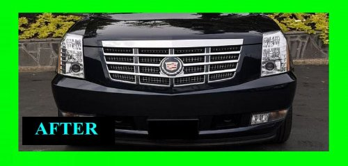312 MOTORING fits 2007-2010 CADILLAC ESCALADE CHROME GRILLE GRILL KIT 2007 2008 2009 07 08 09 10 EXT ESV (Escalade Chrome Grill)