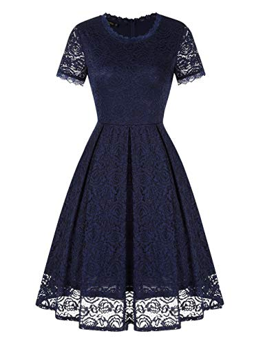 - GloryStar Women's Elegant Bridesmaid Vintage Floral Lace Cocktail Party Formal Midi Dress Navy M