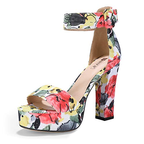 IDIFU Women's IN5 Sabrina Ankle Strap Platform High Chunky Heels Party Sandal (9.5 M US, Floral -