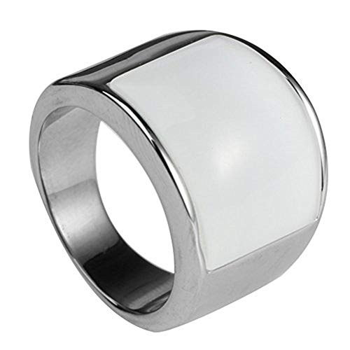 - PMTIER Unisex Stainless Steel Cat's Eye Stone Opal Ring Silver (White, 12)