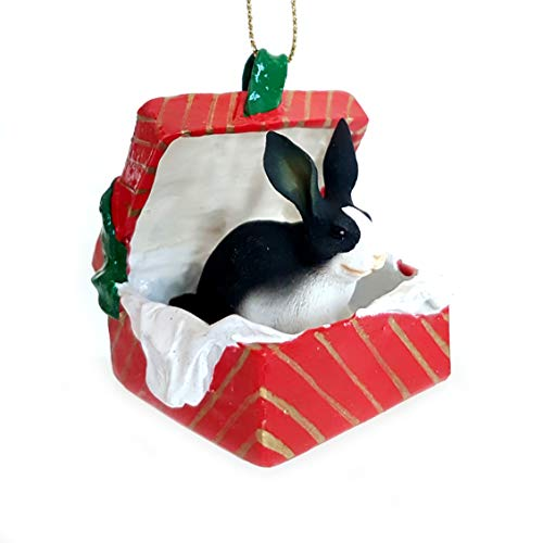 Conversation Concepts Rabbit Black & White Gift Box Red Ornament -