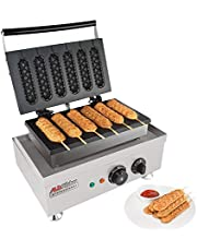 ALDKitchen Corn Dog Waffle Maker for Commercial Use   6 Hotdog Waffles on a Stick   Stainless Steel   110V (6 Hot Dogs)