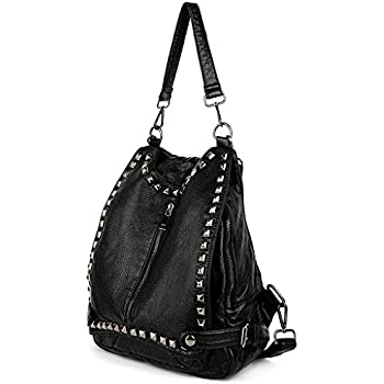 UTO Women Backpack Purse PU Washed Leather Rivet Studded Convertible Ladies  Rucksack Shoulder Bag Black  17b29d574d04c