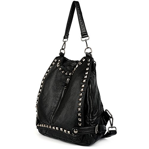 UTO Women Backpack Purse PU Washed Leather Rivet Studded Convertible Ladies Rucksack Shoulder Bag Black_