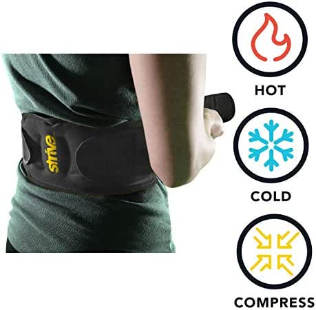 Back Hot and Cold Compression Wrap by Strive   Reusable Gel Pack Therapy for Pain or Injury  Contours to Back with Adjustable Straps   Made in USA by STRIVE