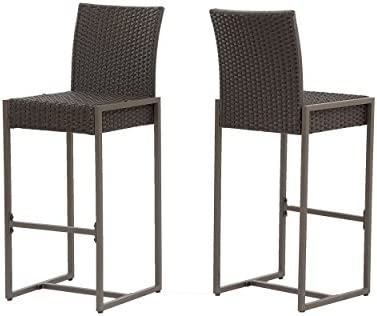 Cheap Christopher Knight Home 305137 Kelly Outdoor Wicker 30 Inch Barstool Set of 2 outdoor bar stool for sale