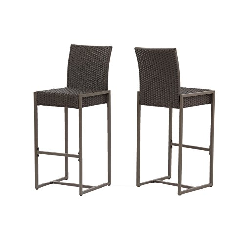 Christopher Knight Home 305137 Kelly Outdoor Wicker 30 Inch Barstool Set of 2 , Dark Brown