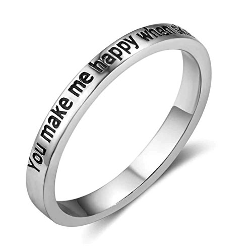 MoAndy 2.8mm Simple Style Silver Engrave Love Words Couples Ring Wedding Engagement Silver Band by MoAndy