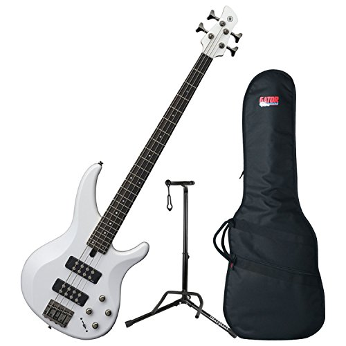 (Yamaha TRBX304 WH TRBX-304 White 4 String Bass Guitar w/ Gig Bag and Stand)