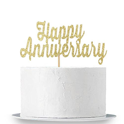 Gold Glitter Happy Anniversary Cake Topper - Birthday Sign - Wedding Anniversary Party Decoration Supplies