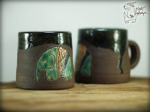 - Handmade ceramic coffee mug with elephant, unique birthday gift, pottery tea cup, wheel thrown black morning cup