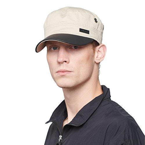 Cap Baseball Cadet Hat (CACUSS Men's Cotton Army Cap Cadet Hat Military Flat Top Adjustable Baseball Cap (P0066_Beige))
