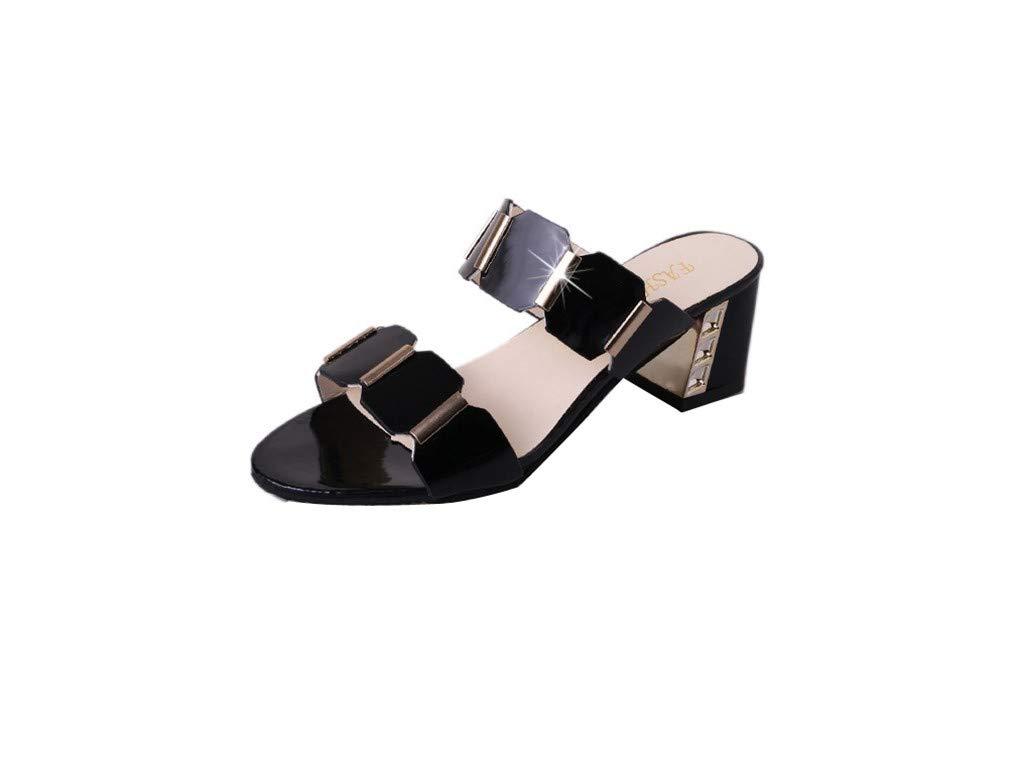 YUCH Chaussures pour Chaussures Femmes Bouche De Poisson 19439 Et Pantoufles Femmes Brutes Black 32e31ff - reprogrammed.space