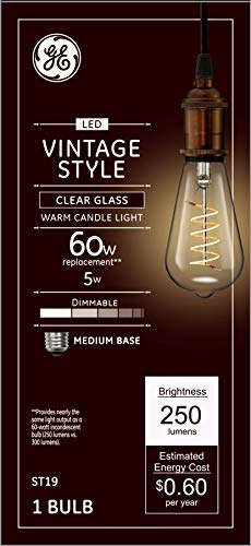 GE Lighting Vintage Clear Finish 60W Replacement LED Light Bulbs, ST19, 1-Pack, Warm Candle, Dimmable Vintage Light Bulb, Medium Base