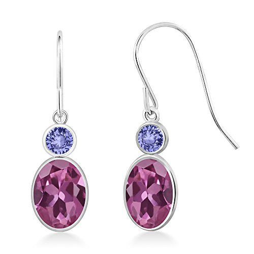 Gem Stone King 1.94 Ct Oval Pink Tourmaline Blue Tanzanite 14K White Gold ()