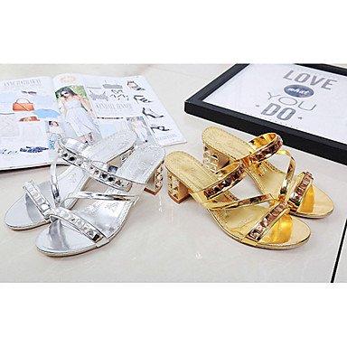 LvYuan Mujer-Tacón Bajo-Confort-Tacones-Informal-PU-Plata Oro Silver