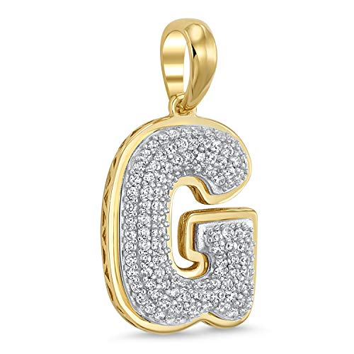 14k Yellow Gold Plated 925 Sterling Silver Cubic Zirconia Bubble Initial Pendant -