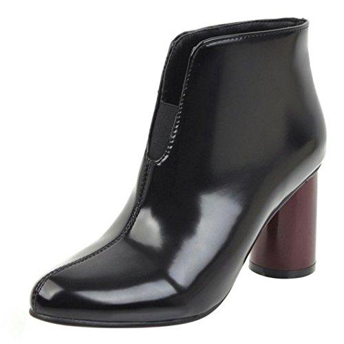 COOLCEPT Mujer Moda Pull On Vestir Ankle Botas de Ancho Black