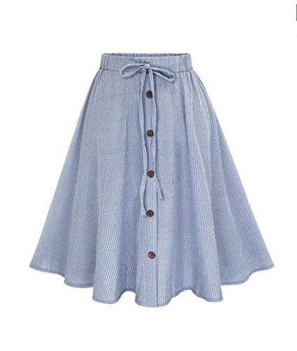 TOPUNDER Stripe Single-Breasted Lace High Waist Plain Skater Flared Skirt For Women (Skirt Suit Silk Wool)