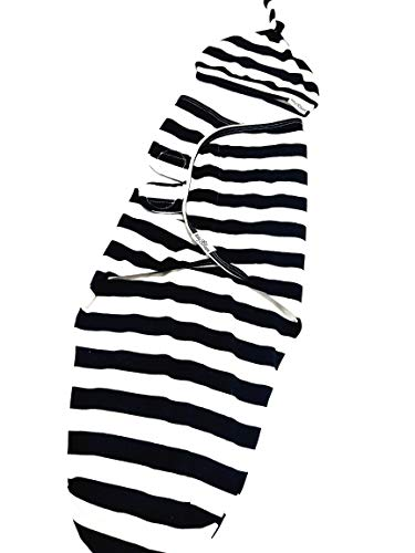 Baby Bloom Adjustable Infant Baby Swaddle Wrap Set with Hat, Soft Cotton Black & White Stripe