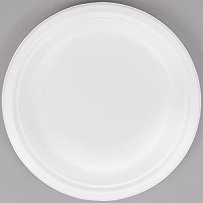 White Eco Natural Disposable Paper Dinner Plates. Made From Bagasse and Sugar Cane (125 Pack)