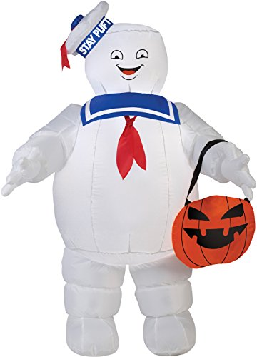Gemmy Airblown Inflatable Stay Puff with Pumpkin Tote/Ghostbusters - 3.5' Tall -