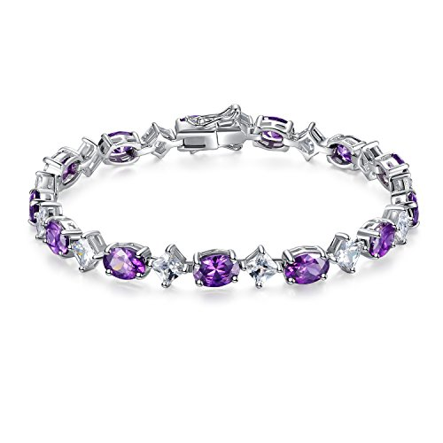 """MABELLA Sterling Silver AAA Oval Cut Shape 14.69 CTW Simulated Amethyst & Cubic Zirconia Tennis Bracelet 7"""""""