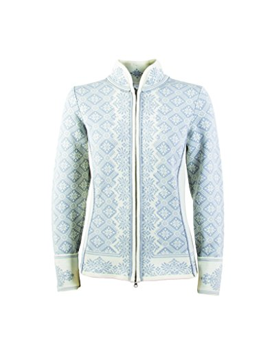 Dale of Norway Women's Christiania Athletic Sweaters, Large, Off White/Metal Grey - Exclusive Stand Collar Jacket