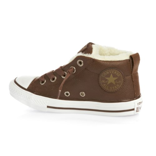 Converse Chuck Taylor All Stars Street Winter Leather Kids Shoes - Pinecone Lead Grey - UK 10 (Jnr)