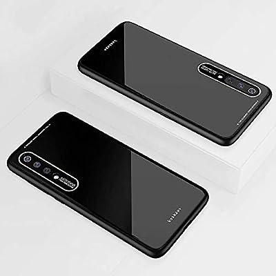 KSHOP Compatible con Funda para Samsung Galaxy a70, Estuche Carcasa Forro Ultra Delgada TPU Parachoques, Trasera de Vidrio Templado - Negro