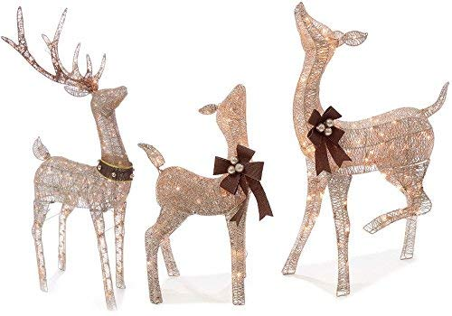 Holiday Home 3 Piece Set Outdoor Christmas Gold Champagne Lighted Deer Buck Doe & Fawn Set Sculptures Yard Decoration Light Up Display